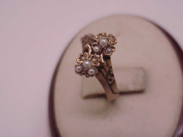 Antique Victorian 10k Rose Gold Natural Seed Pearl Ring