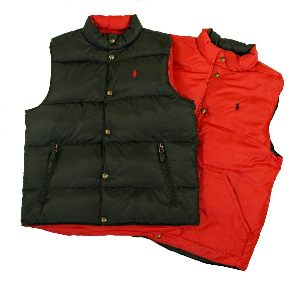 Polo Ralph Lauren Mens Vest Size Medium Packable Down Jacket Coat Navy with Red Pony Gently used 42