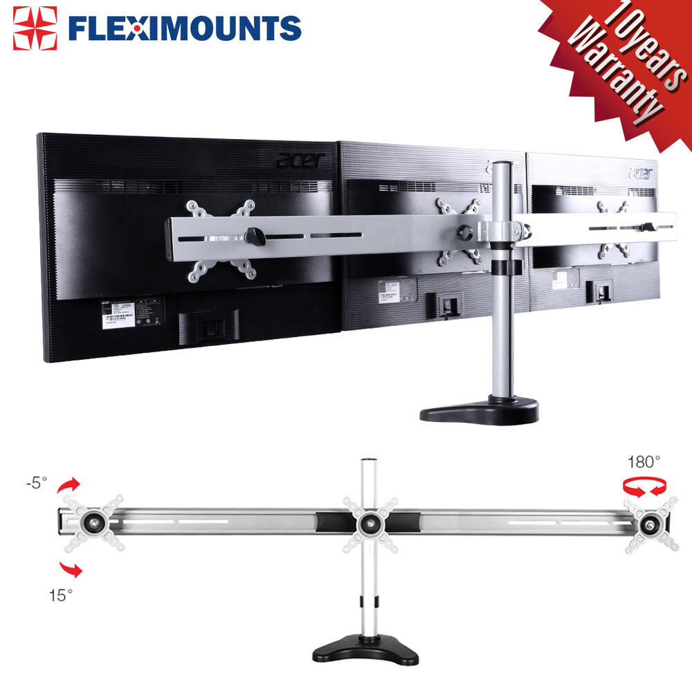 Triple LCD Arm Monitor Desk Mount Stand Heavy Duty upto 27 ...