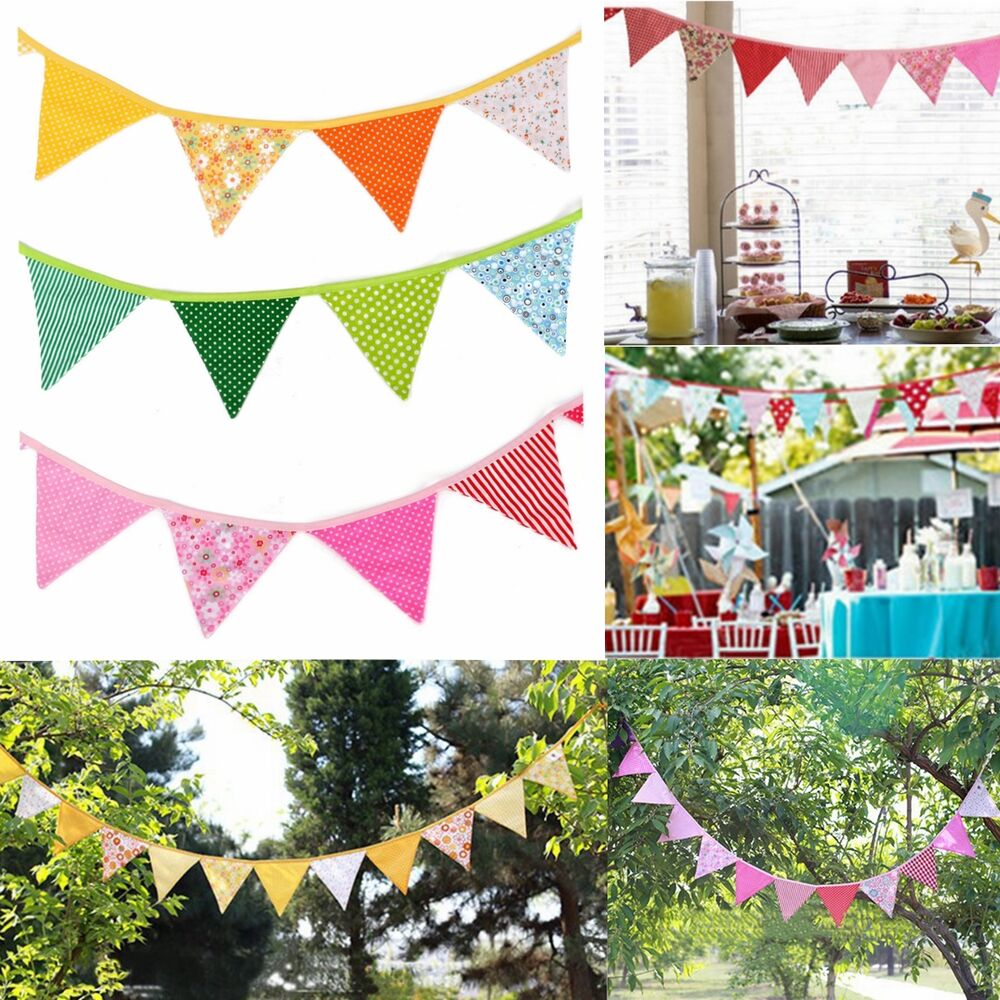 9ft Dots Floral Plaid Birthday Party Pennant Flag Banner