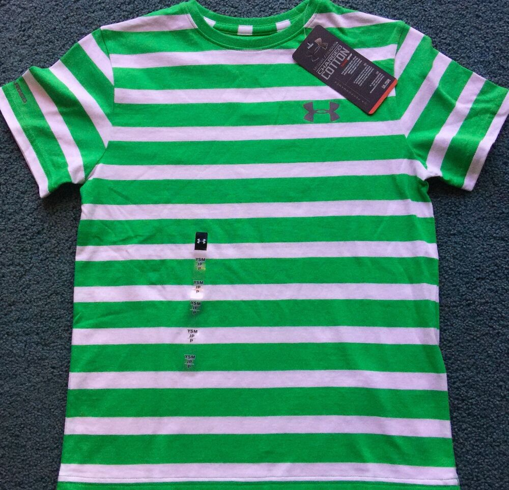 Nwt Under Armour Xl Boys Green White Striped Charged