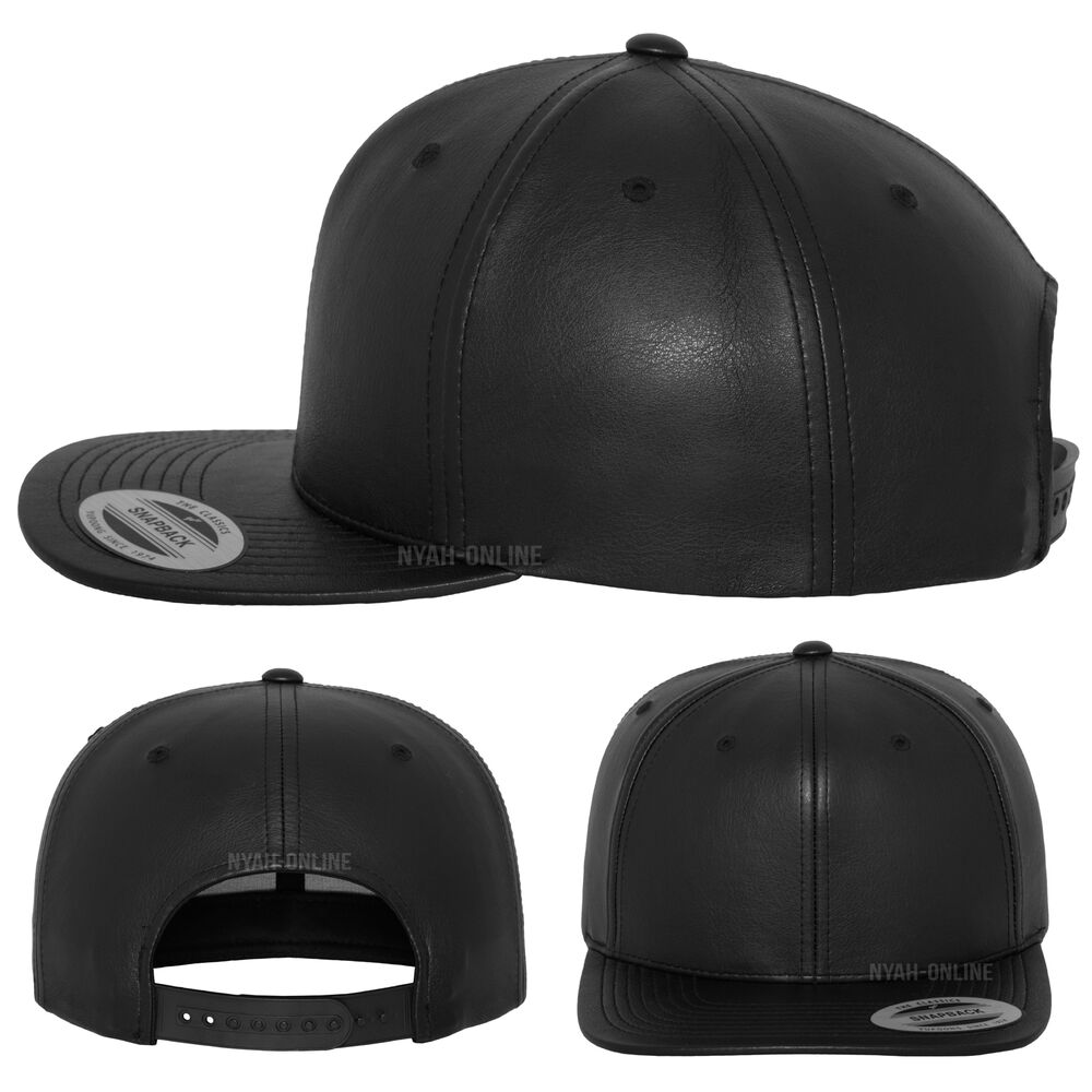 Details about NEW LEATHER SNAPBACK CAP  BLACK  BASEBALL ERA PLAIN FITTED  FLAT PEAK HAT 5ad53a6cbc5