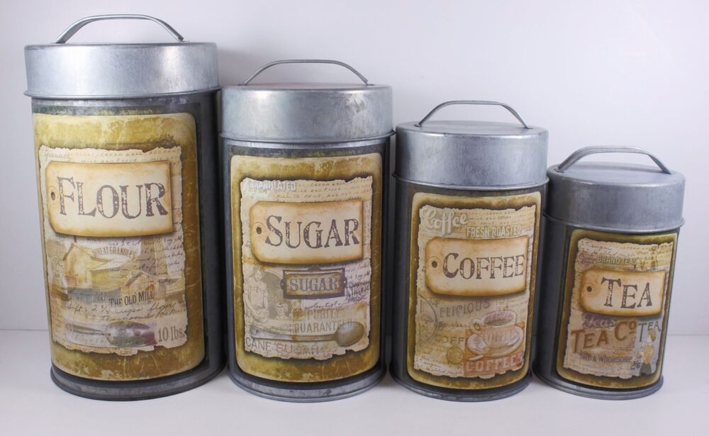 the old mill food safe tin canister set rustic vintage