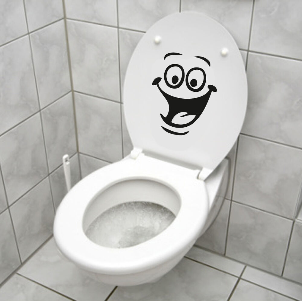 smiley face wc toilet decal wall mural art decor funny bathroom sticker vinyl ebay. Black Bedroom Furniture Sets. Home Design Ideas