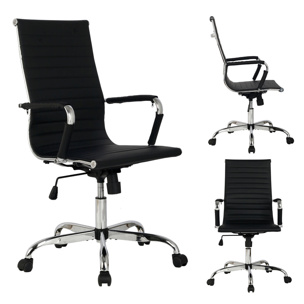 Black modern pu leather ergonomic high back office chair for Modern executive office chairs