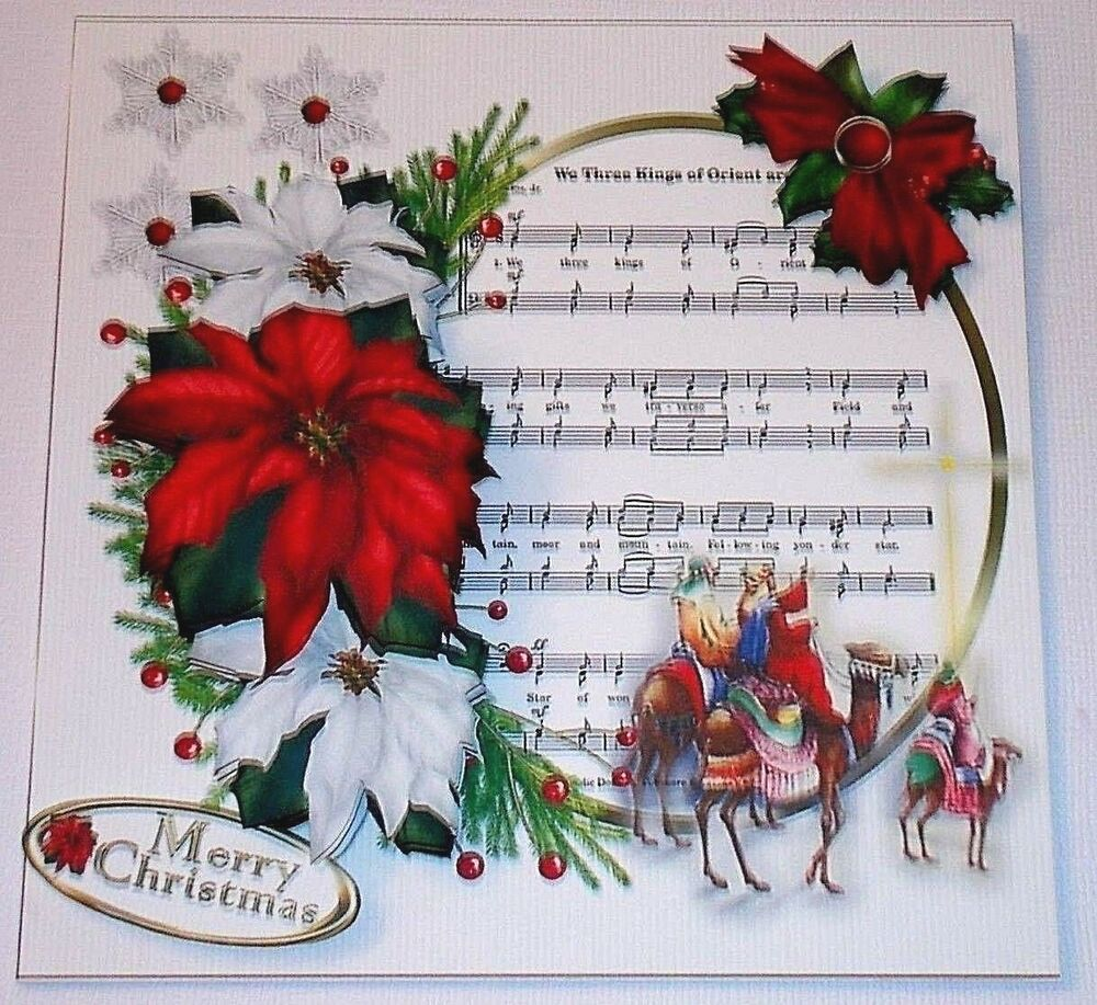 Handmade greeting card 3d christmas with the three wise for Christmas card 3d designs