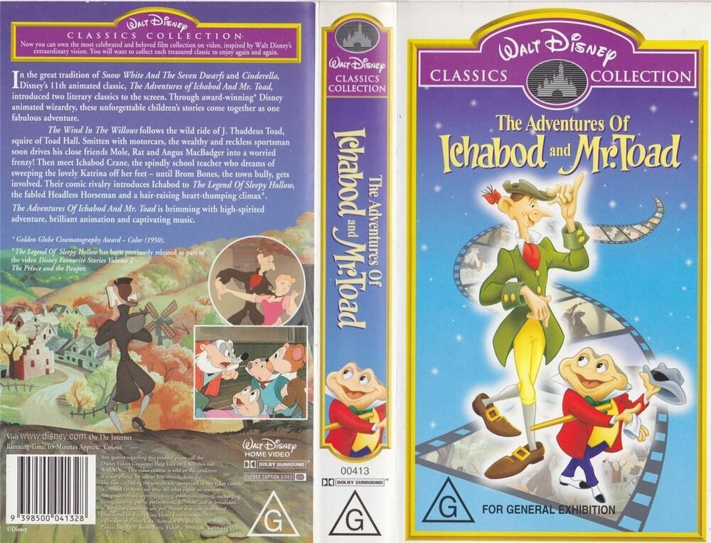 The Adventures Of Ichabod And Mr Toad Walt Disney Vhs