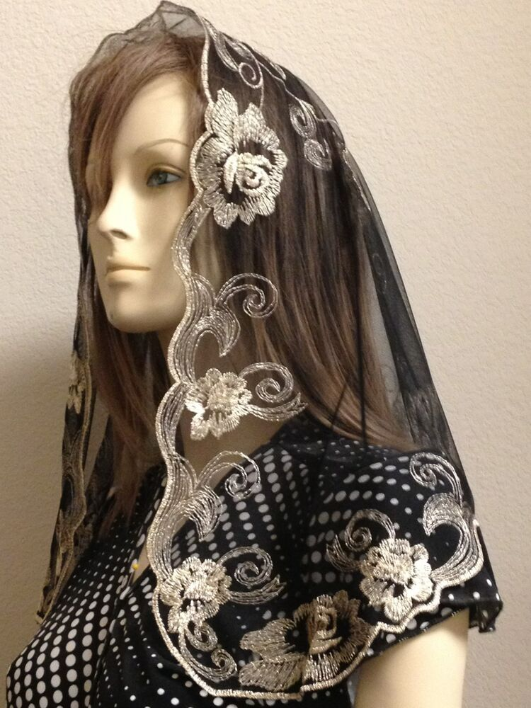 Gold Black Spanish style veils and mantilla church chapel ...