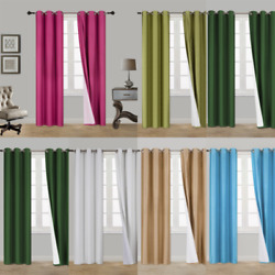 Kyпить 2PC HEAVY THICK SOLID GROMMET PANEL WINDOW CURTAIN DRAPES BLACKOUT FLOCKING K34 на еВаy.соm