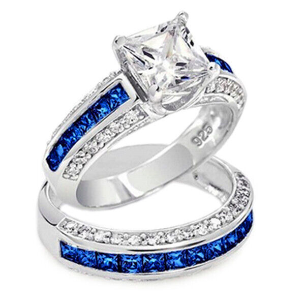 Thin Blue Line Engagement Ring Princess Cut Set Blue Sapphire Accents