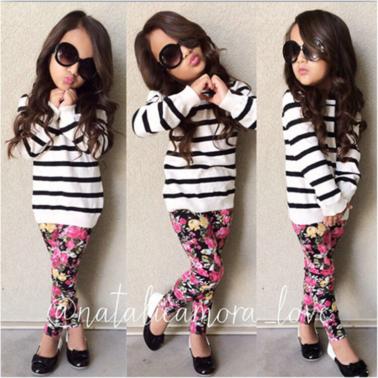 2PCS Baby Girls Stripe Tops + broken beautiful pants Kids Clothes Outfits | eBay
