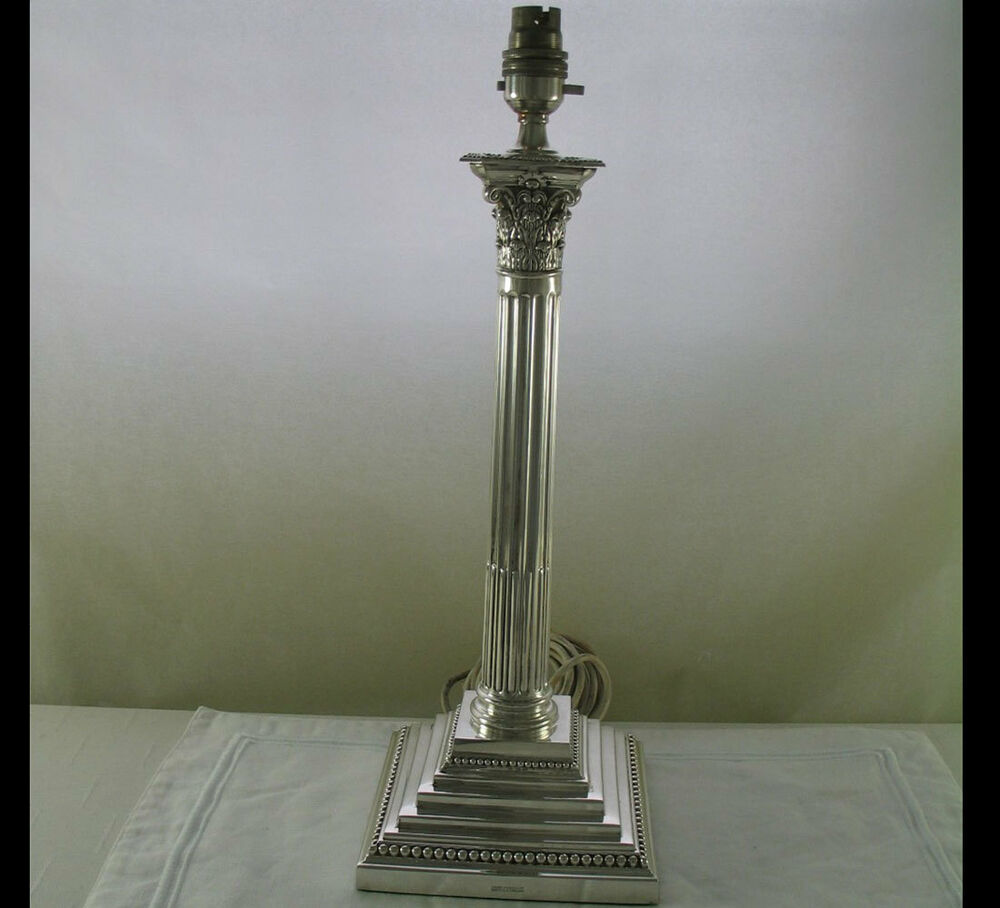 Wonderful large silver table lamp corinthian 22 in ebay for Archimoon k table lamp