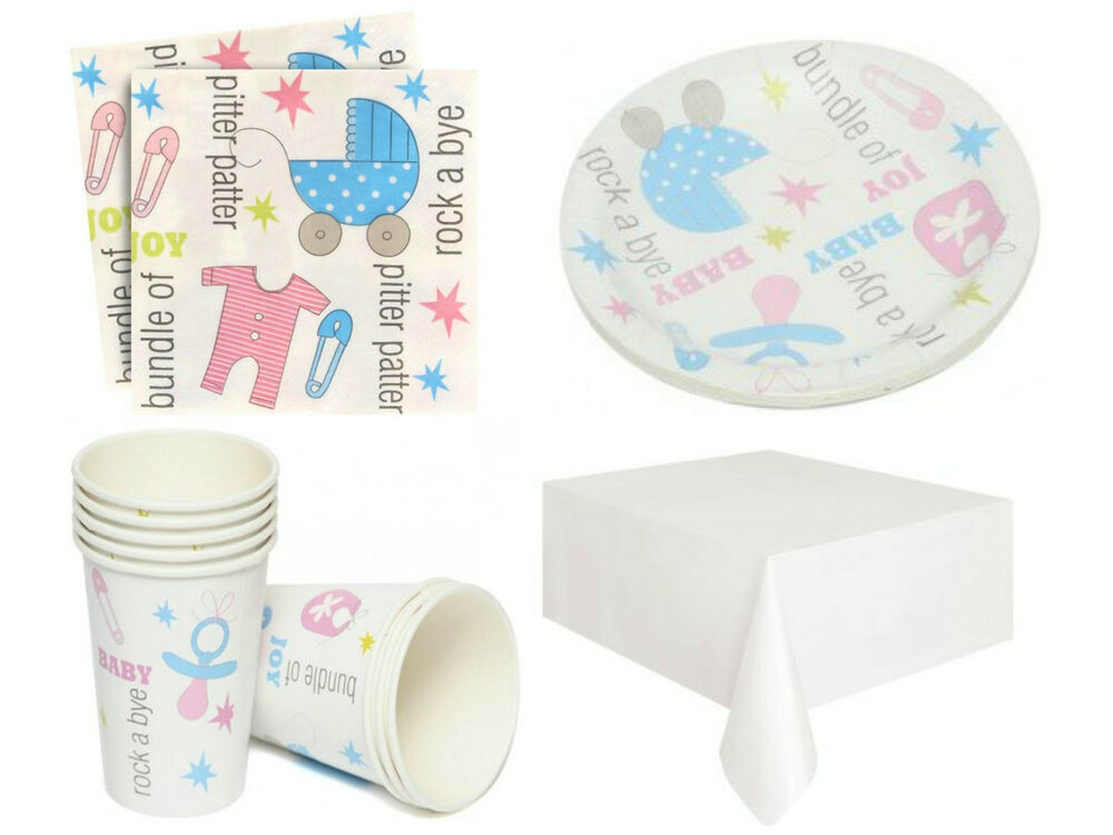 baby shower tiny feet unisex party plates cups napkins table cover