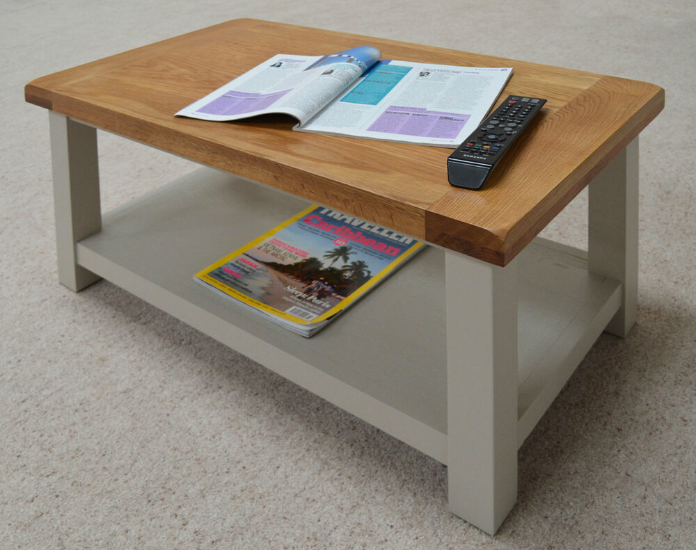 Swainswick stone grey painted oak coffee table with shelf for Coffee tables painted