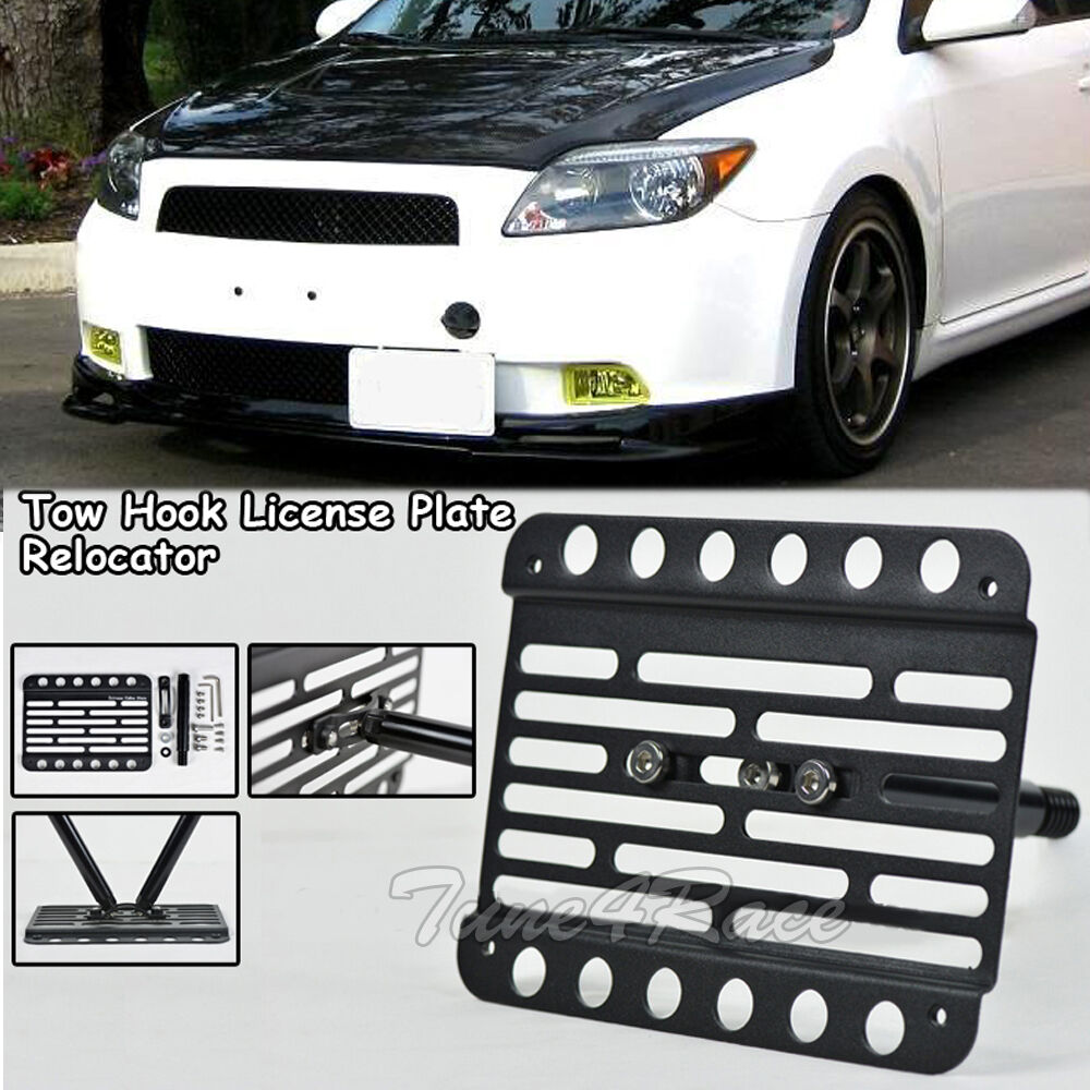 Scion Tc Front License Plate >> For 05-10 Scion TC Front Tow Hook License Plate Relocated Mount Bracket Holder | eBay