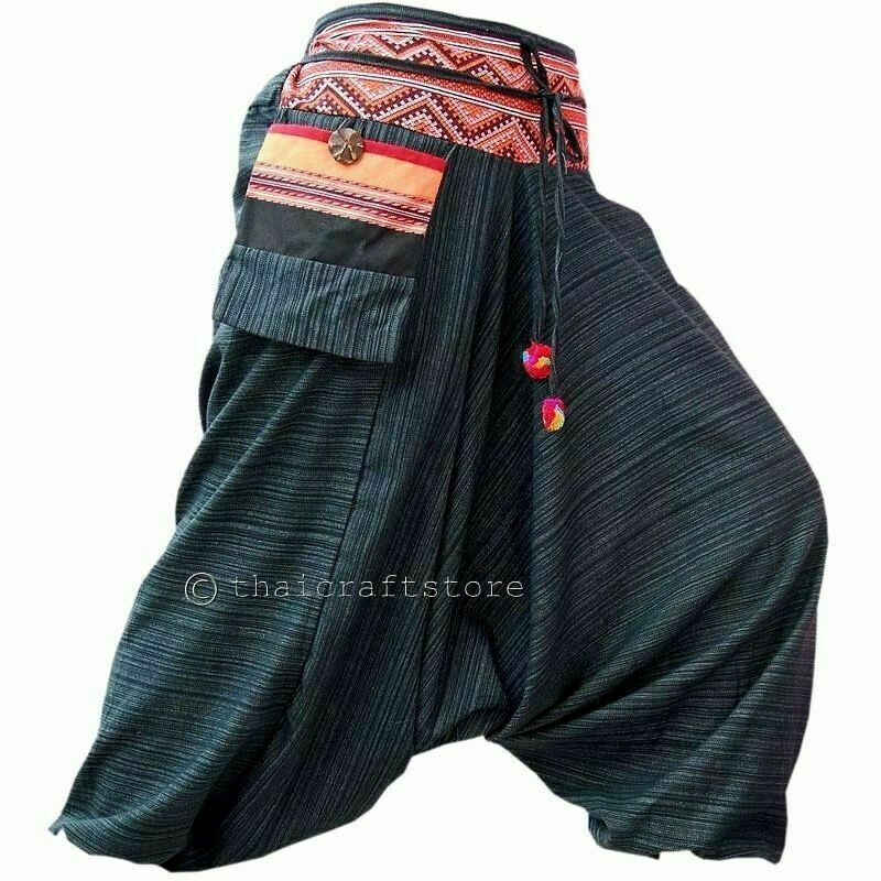 Harem Drop Crotch Pants by: Buddha Pants® Unisex harem pants available in 9 sizes and over 35 patterns & colors. All styles pack into their pocket.