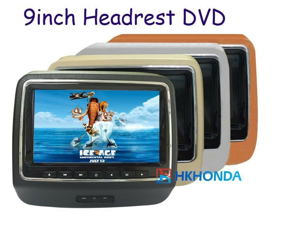 1pc 9 inch hd led screen headrest monitor with dvd cd