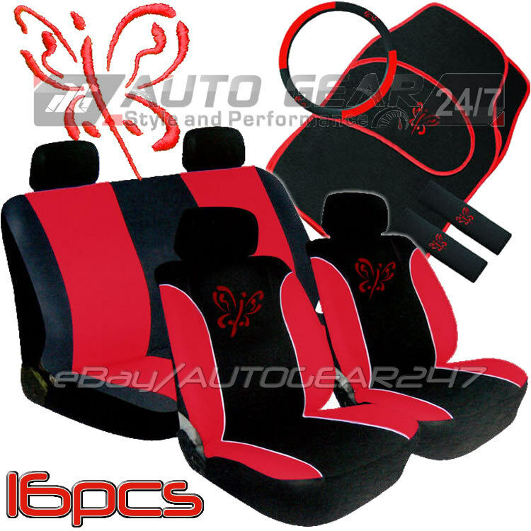 Red Black Butterfly Car Seat Covers Package Deal