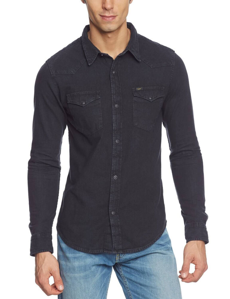 Lee western denim shirt new men s pitch black jean shirts for Men s regular fit shirts