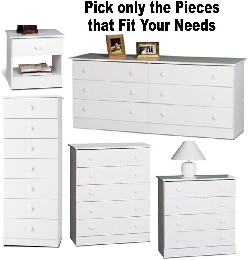White bedroom furniture set dresser nightstands chest for Dresser and nightstand set