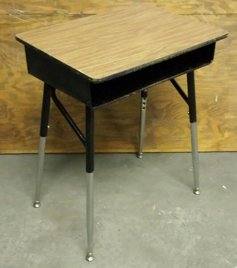 Diy school student desk adjustable metal legs wood top for Metal desk with wood top