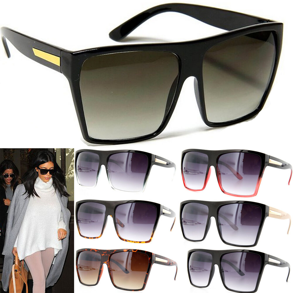Large Frame Ladies Glasses : Square Flat Top Large Sunglasses Big Oversized Huge ...