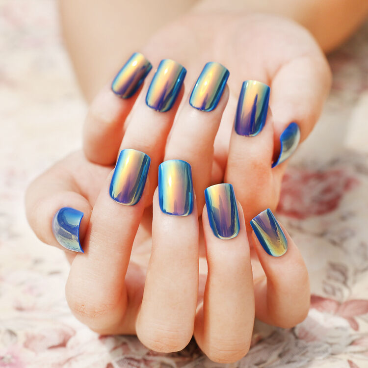 Artificial Nail Tips: Symphony Shell Color Blue Metal Shine Bent Lady Artificial