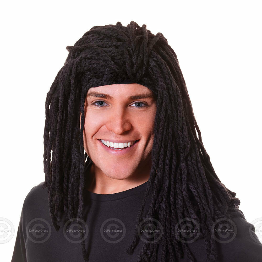 Mens Long Rasta Reggae Wig Fancy Dress Black Rudd