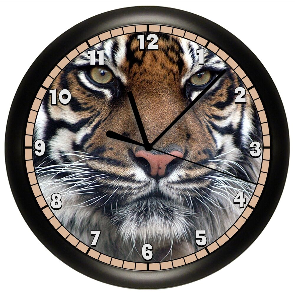 Tiger Wall Clock Decorative Gift Decor Big Cat Wild Jungle