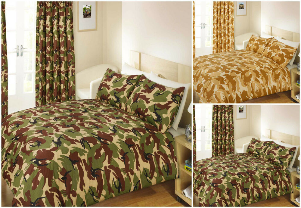 Army Camouflage Duvet Cover Quilt Bedding Set Curtains Single Double Military Ebay