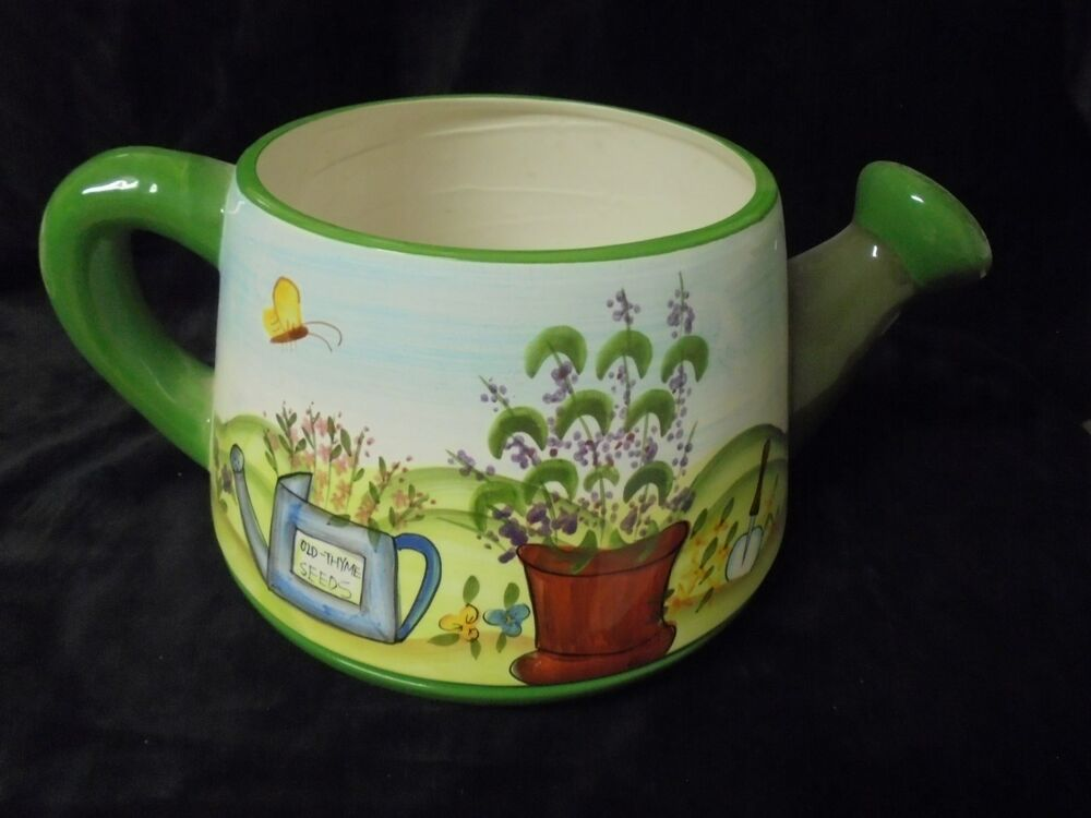 Unique ceramic decorative water can picture can planter 7x7x10 ebay - Unusual watering cans ...