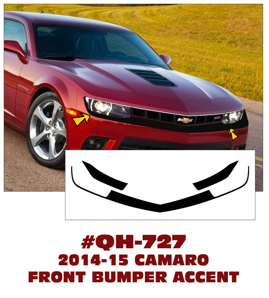 Mustang Decals And Stripes >> QH-727 2014-15 CAMARO - FRONT BUMPER ACCENT DECAL - V6 - GREAT LOOK | eBay