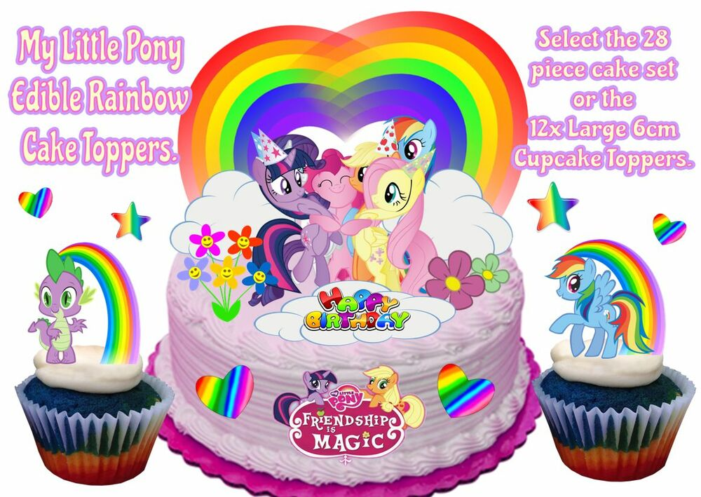 Edible My Little Pony Rainbow Hearts Stars Stand Up Birthday Cake ...