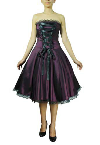 Plus Size Black Purple Goth Corset Strapless Satin Ribbon Lace Dress