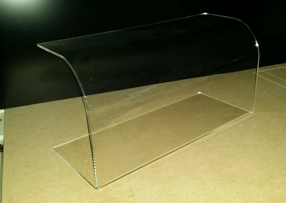 curved sneeze guard screen clear acrylic perspex food cake display 500mm long ebay - Sneeze Guard