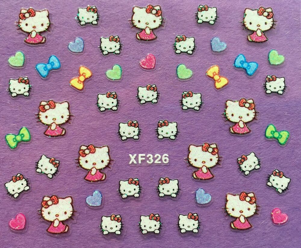 Nail Art 3D Glitter Decal Stickers Hello Kitty Hearts Bows