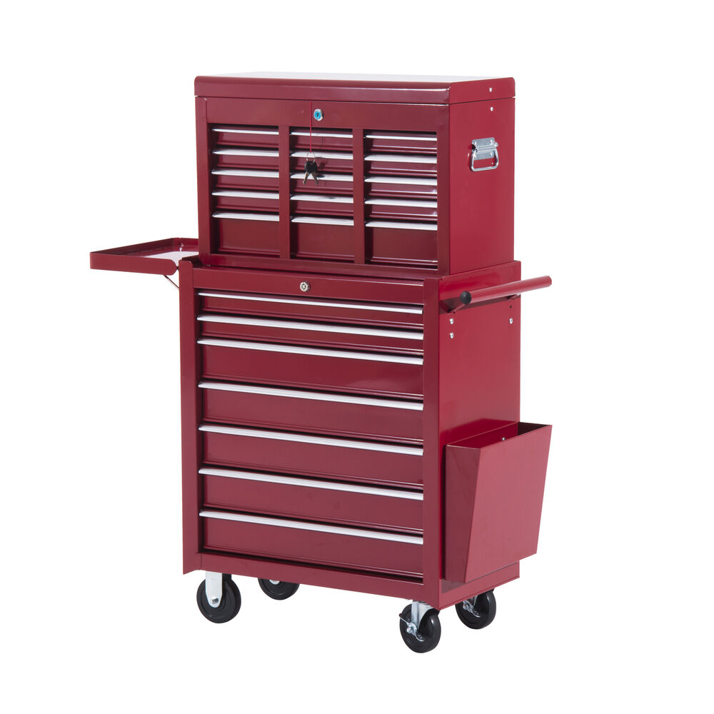 homcom toolbox tool cabinet storage cart top chest case w wheel 16 drawers ebay. Black Bedroom Furniture Sets. Home Design Ideas