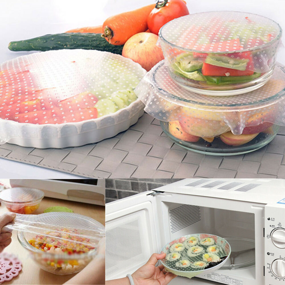 4Pc Silicone Wraps Seal Cover Stretch Cling Film Food