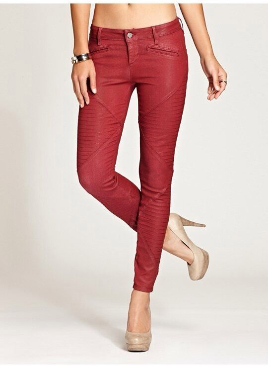 Guess Diamond Panel Brittney Mid Rise Leggings In Red