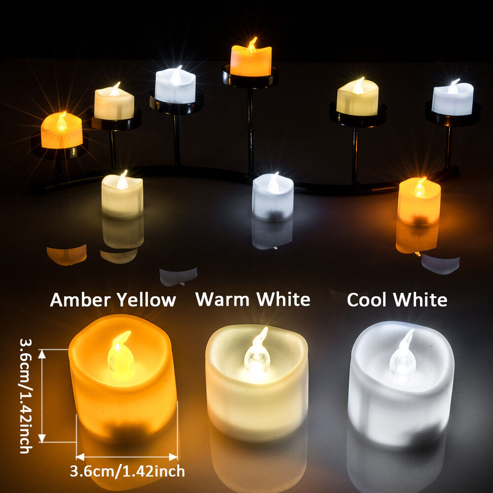 6 60pcs Battery Operated Flameless Flickering Tealights