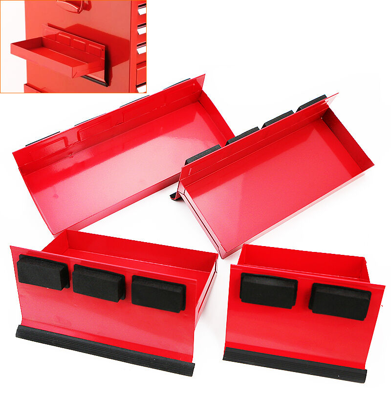 4pc Magnetic Toolbox Tray Set Tool Box Cabinet Side Shelf
