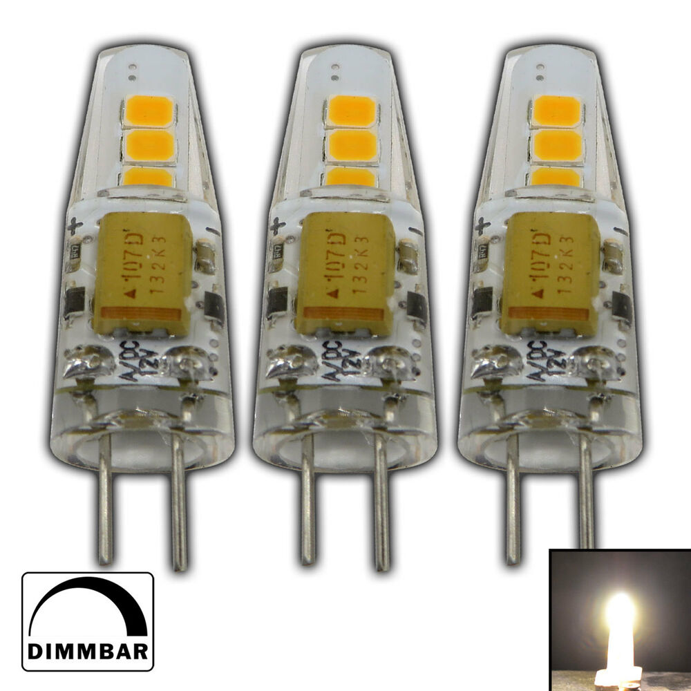 3x g4 led 2 watt 12v ac dc warmwei dimmbar a lampe leuchtmittel leuchte ebay. Black Bedroom Furniture Sets. Home Design Ideas