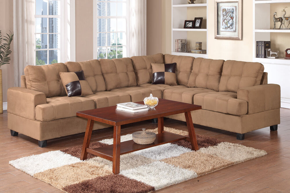 plush microfiber 2pc sectional set saddle sofa loveseat