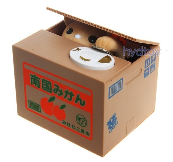 Itazura mischief brown cat automated stealing coin money saving box piggy bank ebay - Coin stealing cat piggy bank ...