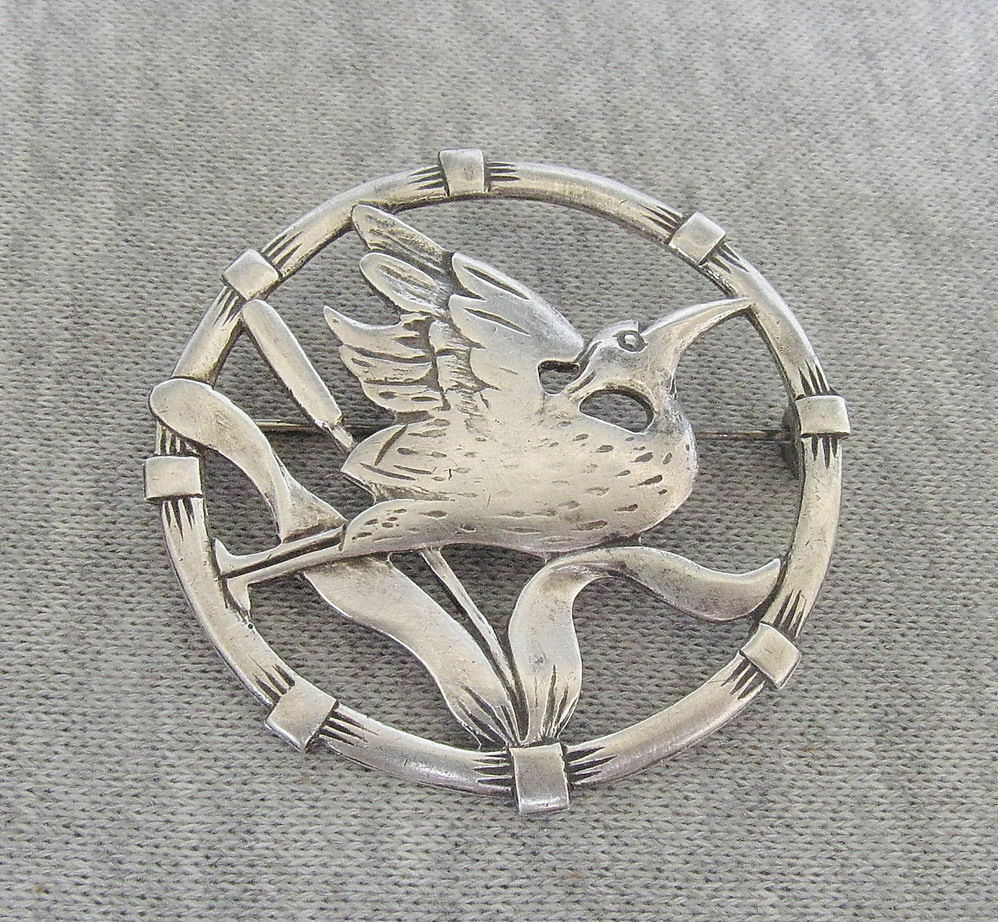 brks art deco silver sterling crane heron egret pin brooch signed ebay. Black Bedroom Furniture Sets. Home Design Ideas