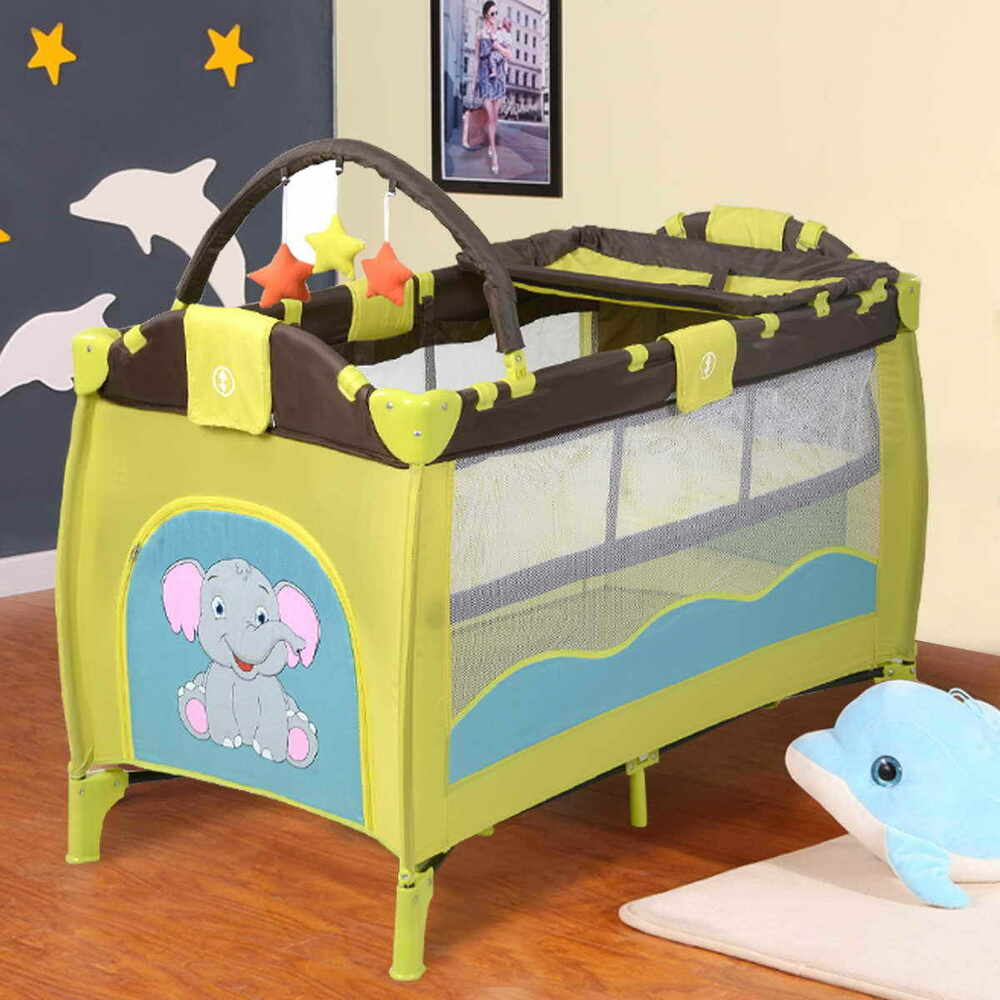 Green Infant Baby Child Travel Cot Cribs Bed Amp Play Pen