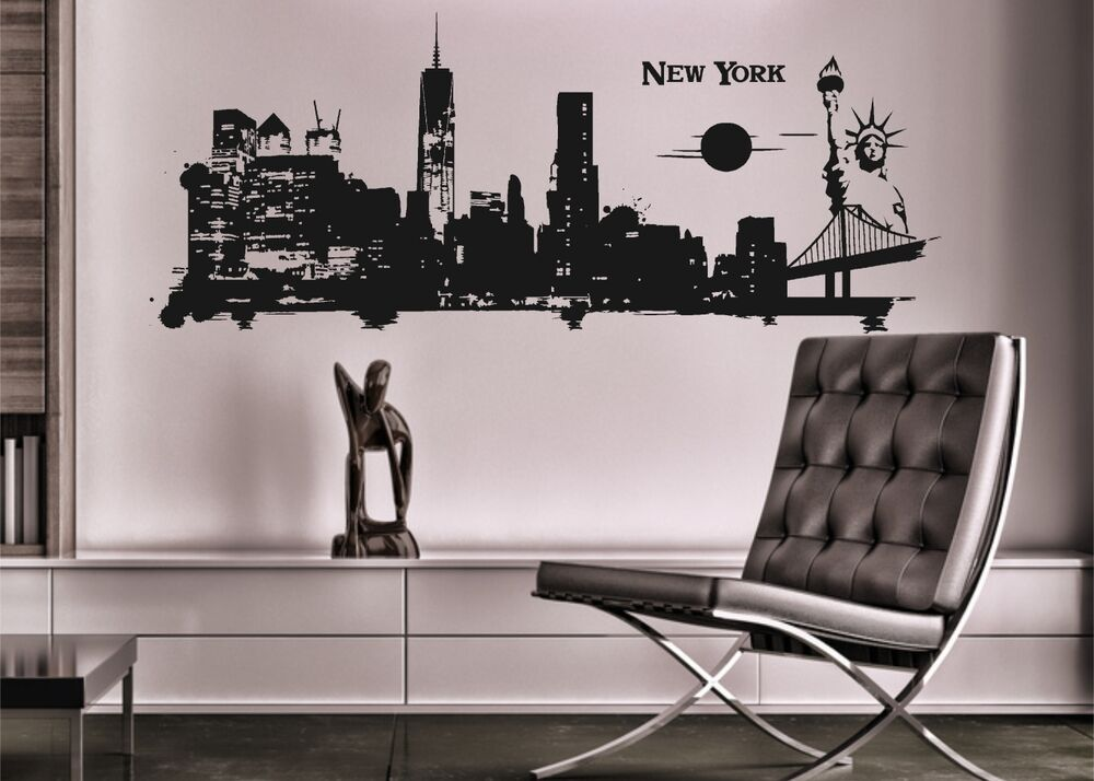 wandtattoo new york mit neuem world trade center skyline wandsticker aufkleber ebay. Black Bedroom Furniture Sets. Home Design Ideas