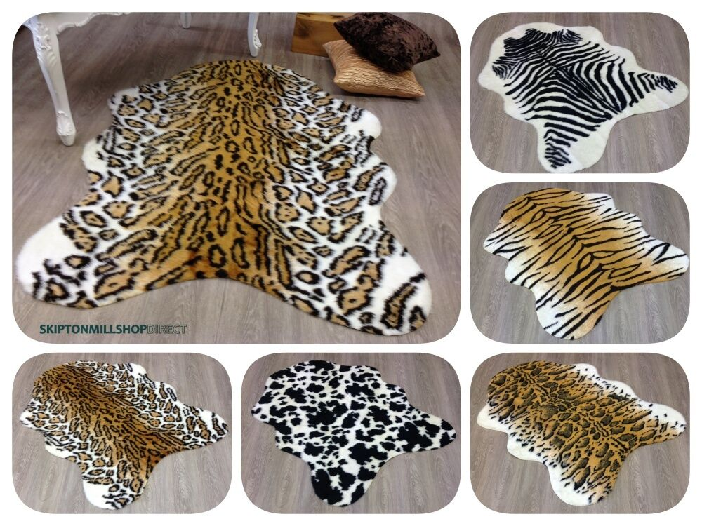 Animal hide faux fur rugs soft non slip washable zebra tiger cow leopard 3 sizes ebay - Faux animal skin rugs ...