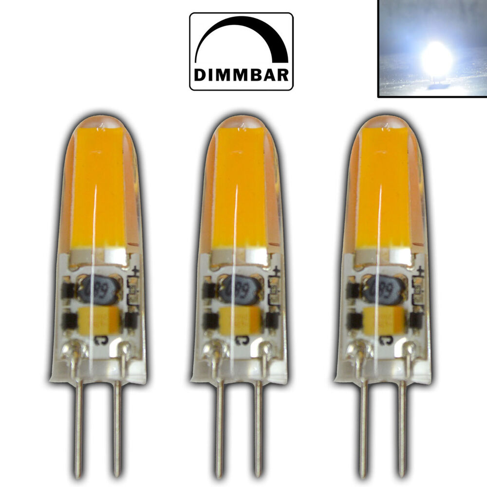 3x dimmbare g4 led 2 w a 12v ac dc kaltwei cob leuchtmittel lampe dimmbar ebay. Black Bedroom Furniture Sets. Home Design Ideas