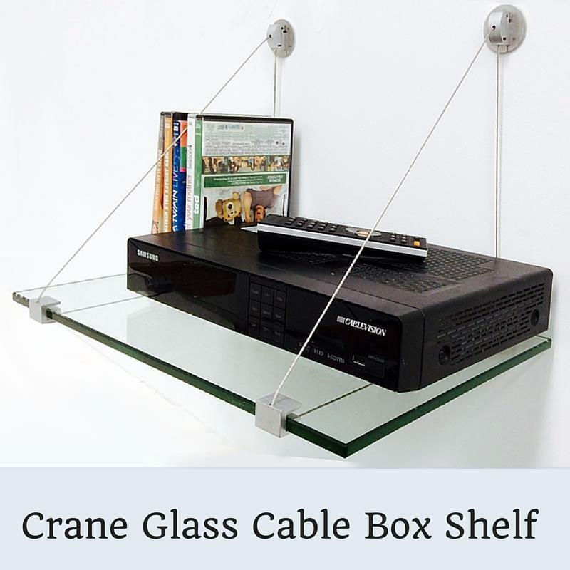 crane cable box glass shelf kit 3 8 tempered glass shelf with 2 shelf brackets ebay. Black Bedroom Furniture Sets. Home Design Ideas